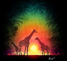 Giraffes at sunset by MaurelArt