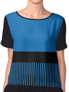 Trendy Dazzling Blue Black Stripes Chiffon Top