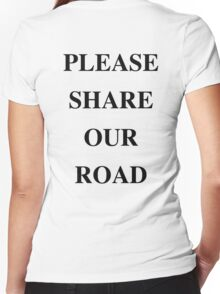PLEASE SHARE OUR ROAD Women's Fitted V-Neck T-Shirt