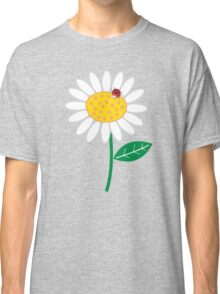 Whimsical Summer White Daisies & Red Ladybugs Classic T-Shirt