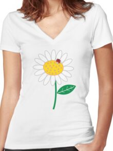 Whimsical Summer White Daisies & Red Ladybugs Women's Fitted V-Neck T-Shirt