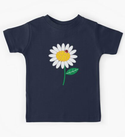 Whimsical Summer White Daisies & Red Ladybugs Kids Tee