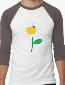 Whimsical Summer White Daisies & Red Ladybugs Men's Baseball ¾ T-Shirt
