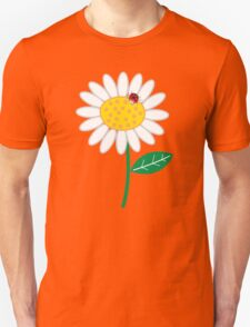 Whimsical Summer White Daisies & Red Ladybugs Unisex T-Shirt