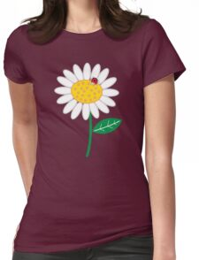 Whimsical Summer White Daisies & Red Ladybugs Womens Fitted T-Shirt