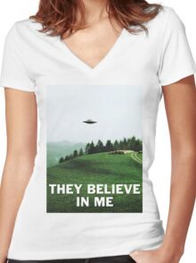 THEY BELIEVE IN ME Women's Fitted V-Neck T-Shirt