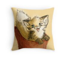 Fox cub happy to see you Throw Pillow