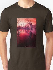 Spooky lake, mysterious light Unisex T-Shirt