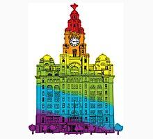 Rainbow Liver Building Liverpool Unisex T-Shirt