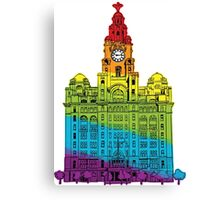 Rainbow Liver Building Liverpool Canvas Print