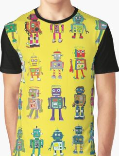 Robot Line-up on Yellow Graphic T-Shirt