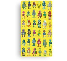 Robot Line-up on Yellow Canvas Print