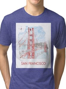 San Francisco Golden Gate Neighborhood Map Tri-blend T-Shirt