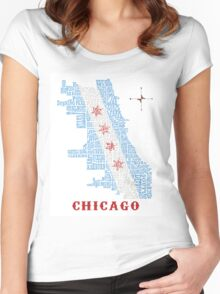 Chicago Flag Neighborhood Map Women's Fitted Scoop T-Shirt