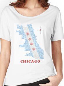 Chicago Flag Neighborhood Map Women's Relaxed Fit T-Shirt