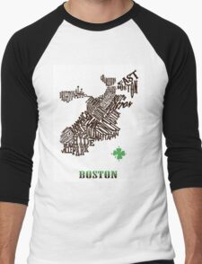 Boston Clover Neighborhoods Map Men's Baseball ¾ T-Shirt