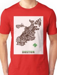 Boston Clover Neighborhoods Map Unisex T-Shirt
