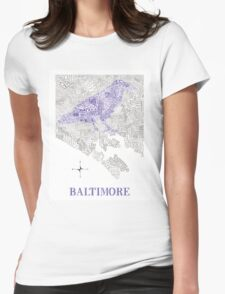 Baltimore City Ravens Neighborhood Map Womens Fitted T-Shirt