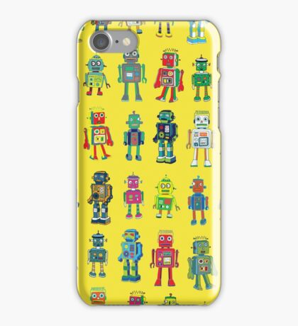 Robot Line-up on Yellow iPhone Case/Skin