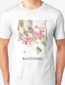 Baltimore city MD Flag Neighborhood Map Unisex T-Shirt