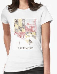 Baltimore city MD Flag Neighborhood Map Womens Fitted T-Shirt