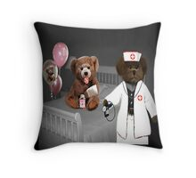 TEDDY IS ON THE ROAD TO RECOVERY NURSE SAYS HE WILL BE JUST FINE-THROW PILLOW Throw Pillow