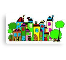 Stadt mit Haus und Baum Canvas Print