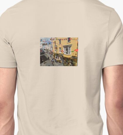 Looking Down at Life on the Street at Tenby, Wales Unisex T-Shirt