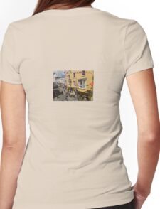 Looking Down at Life on the Street at Tenby, Wales Womens Fitted T-Shirt
