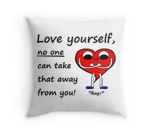 Love Yourself - Cute Mr Heart Motivation Be Happy Throw Pillow