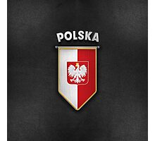 Poland Pennant with high quality leather look Photographic Print