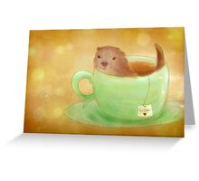 Cosy Tea Otter Greeting Card