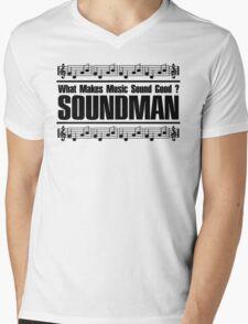 Good Soundman Black Mens V-Neck T-Shirt