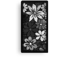 Burst of Black & White Garden of Flowers, Mosaic Canvas Print
