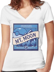 Mt. Moon Pokemon Beer Label Women's Fitted V-Neck T-Shirt