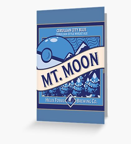Mt. Moon Pokemon Beer Label Greeting Card