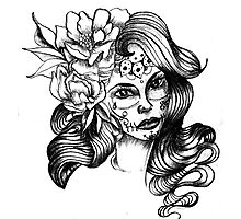 catrina and flowers Photographic Print