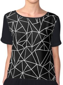 Abstraction Outline Black and white Chiffon Top