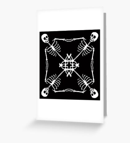 Mutant Pirate Flag, black and white Greeting Card