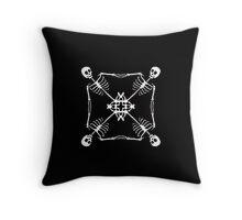 Mutant Pirate Flag, black and white Throw Pillow