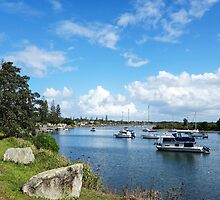 Boats at rest in Yamba Bay by Gregory Hale