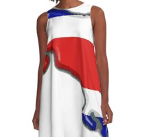 Costa Rica Map With Costa Rican Flag A-Line Dress