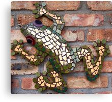 Climbing Mosaic Frog on Brick Facade Canvas Print