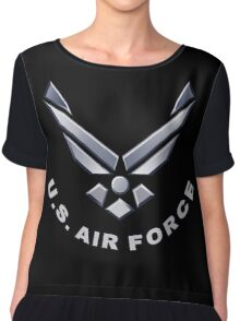 U.  S. Air Force Symbol for Dark Colors Chiffon Top