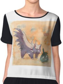 stunky and trubbish pokemon Chiffon Top