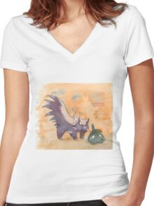 stunky and trubbish pokemon Women's Fitted V-Neck T-Shirt