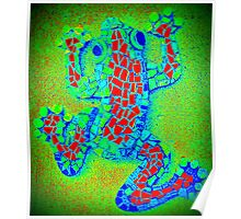 Psychedelic Green Frog, Mosaic Poster