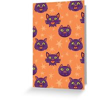 Halloween Hissing Cats Pattern Greeting Card