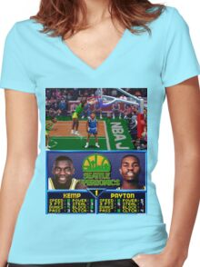 Seattle Supersonics NBA Jam  Women's Fitted V-Neck T-Shirt