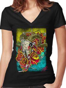 ram skull Women's Fitted V-Neck T-Shirt